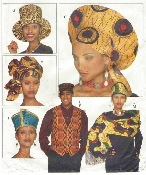 90s Butterick Sewing Pattern 3470 Unisex Accessories African