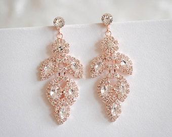 50% Off SALE, Rose Gold Bridal Earrings, Chandelier Wedding Earrings, Vintage Style Leaf Dangle Earrings, Art Deco Bridal Jewelry, JOCASTA