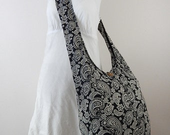 New Paisley Cotton Bag Hippie Hobo Sling Crossbody Thai Purse in Black