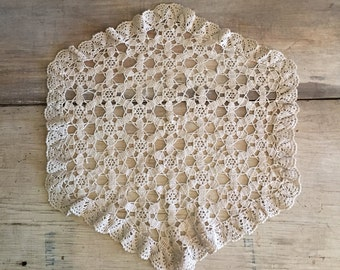 Doily Beige Doily Crochet Doily Hexagon Ivory Wedding
