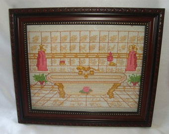 Cross Stitch Bathroom Hanging