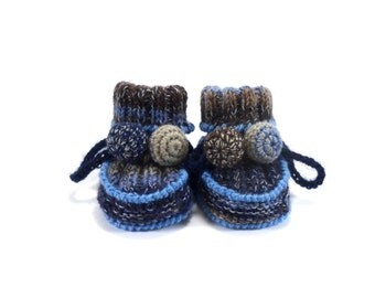 Knitted Baby Booties - Blue and Brown, 0 - 3 months