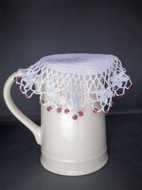 White Crochet Beaded Jug Cover with Pink Beads by ...