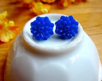 Blue Flower Earrings. Blue Flower Posts. Blue Flower Studs. Navy Chrysanthemum Post. Navy Blue Daisy Earrings. Something Blue. Blue Wedding