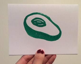 Avocado Linocut Card