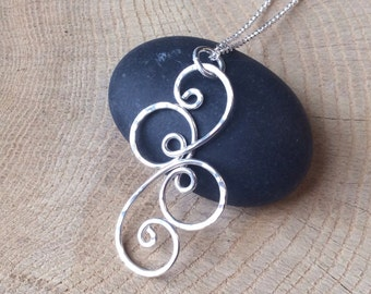 Silver Spiral Necklace, Argentium Sterling Swirl Pendant