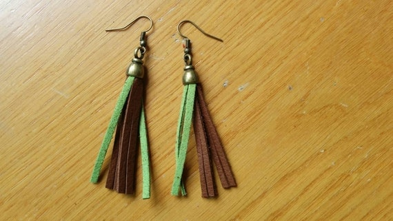 Leather earrings, dangle earrings, green earrings, brown earrings,long earrings,leather dangle,bronze leather,leather jewelry,suede earrings