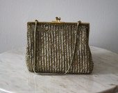 Bag Beaded Gold Silver Silk Brass Evening Purse - 1930s VINTAGE