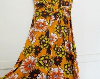 Vintage 60s 70s Orange Flower Power Palazzo Pantsuit Sleeveless One PIece Romper Womens Size X-Small