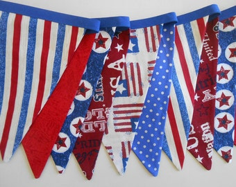 Banner 4th of July Bunting/READY to SHIP / Patriotic Banner/ Red, White and Blue Banner/ Patriotic Photo Prop / Patriotic Subway Art Garl