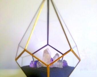 Terrarium / Crystal Garden / Gold Terrarium / Glass Geometric Terrarium / Quartz / Amethyst