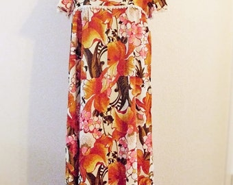 Sale 50% off Vintage 1960's Flower Power Hippie  Maxi Dress