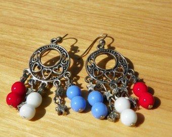 July 4th Earrings USA red white and blue earrings 4th of July earrings July 4th earrings dangle earrings star earrings dangle earrings