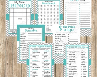 Baby Shower Games Pack Teal Grey Chevron  Mommy to be  PRINTABLES   INSTANT Download bingo word find whats in your purse 1020