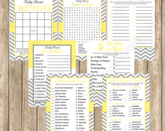 Baby Shower Games Pack Yellow Grey Chevron  Mommy to be  PRINTABLES   INSTANT Download bingo word find whats in your purse - 1010