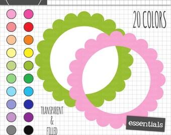 Scalloped Digital Frames, Pastel Circle Digital Label Clipart, Instant Download, Commercial Use