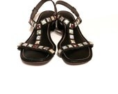 Women's Black Jeweled T Strap Vegan Leather Sandals By Signal Beacon SZ 6N