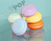 6 - Macaron Mixed Pack Large 3D French Dessert Macaroon Pill Box Charm Pendants, Pendant Box Macaroons, 40mm x 20mm (R8-239)