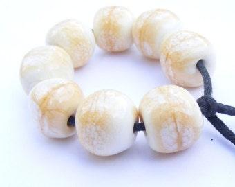 Handmade lampwork beads set of 8 opaque ivory curvy cube beads