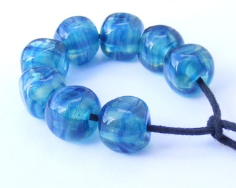 Teal and blue handmade lampwork bead set - 8 curvy cube lampwork beads