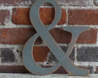 "12"" Wooden Ampersand & Distressed White - Oversize Symbol, many colors available"