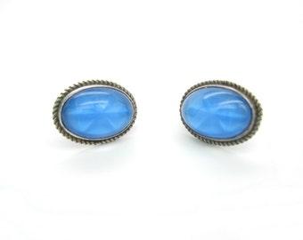 Art Deco Czech Earrings. Blue Star Sapphire Glass. Sterling Silver Screw Backs.  Oval Cabochons. 1930s Vintage Art Deco Jewelry.