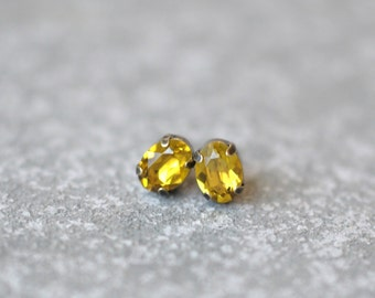 Lime Green Earrings Swarovski Crystal 8mm Oval Petite Studs Super Sparklers Small RARE Earrings Mashugana