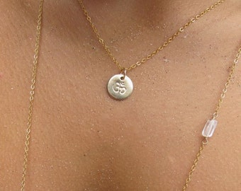 Om Symbol Necklace, Gold Hand Stamped Circle Disc Charm Pendant, Maui Hawaii Jewelry, Gift Idea, Handmade, Yoga Jewelry, Sacred Aum, Oneness