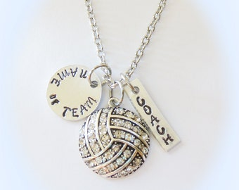 Volleyball Coach Necklace Jewelry with Ultra Personalization of Name, Team, Club or School, volleyball team gift