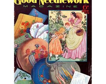1930s Good Needlework Magazine September 1932 Edition Vintage Embroidery Fiction Advertisements Art Deco Fashion