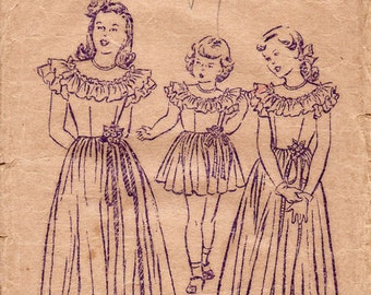 1940s Girl's Party Dress Pattern Butterick 4329 Child's Vintage Sewing Pattern Short or Full Length Dress with Ruffle Yoke Size 6
