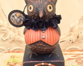 Folk Art One of a kind Owl pumpkin, skeleton, cat Halloween vintage style Primitive  HAFAIR Penny Grotz