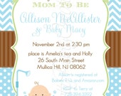 BLUE baby in tub BABY SHOWER invitation - you print - 2 to choose.