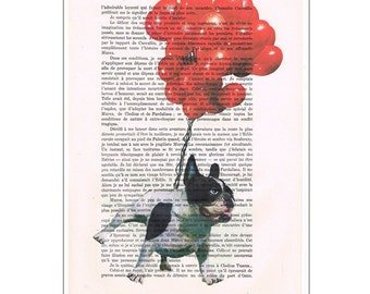 Bulldog flying with red balloons, frenchie painting, bulldog illustration, frenchie print, boston terrier, frenchie poster, bulldog art