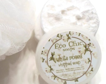 White Rose Whipped Soap - Soap in a Jar - Creamy Whipped Soap - Foaming Bath Butter - Paraben FREE - Body Wash - Cleanser