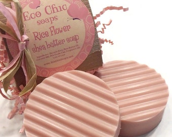 Rice Flower and Shea Handmade Soap - Pink Kaolin Clay Soap - Coconut Milk - Sensitive Skin - Homemade Soap - Natural Soap - Gift Soap