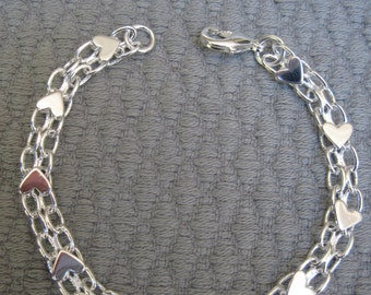 Silver Floating Hearts on a Double Linked Petite Chain Bracelet