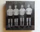 Painting of Vintage Sports Team in Black and White - Original Art Size 8x8 - Framed Artwork on Wood - Grayscale Painting of Men In Uniform