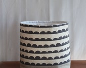 Fabric Storage Basket Linen Charcoal Scallops