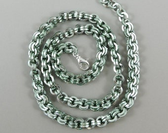 Chainmaille Necklace, Seafoam Green Chainmail Necklace, Chain Mail Jewelry, Square Chainmaille