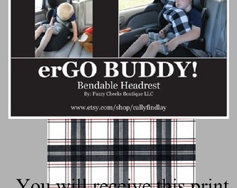 Travel Pillow for Kids and Adults erGO BUDDY Bendable headrest carseat pillow and cover in Black White Red Plaid