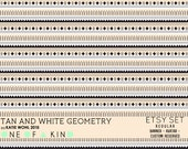 Tan and White Geometry - etsy set