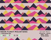 Neon Funky Mountains - ETSY KIT