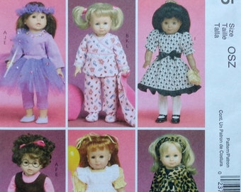 "McCall's Crafts M6005 18"" DOLL CLOTHES Coat Dress Leggings Clothing Pattern - Fits American Girl Our Generation Carpatina Gotz Dolls"