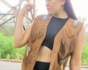 SALE 1980s 1990s  Beaded Leather VEST Fringe Tatanka BUFFALO hide Festival Vintage // Size: M / L