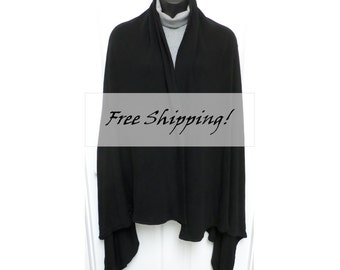 Shawl Cape Blanket Scarf Wrap Dramatic Black Knit Plus Size Free Shipping