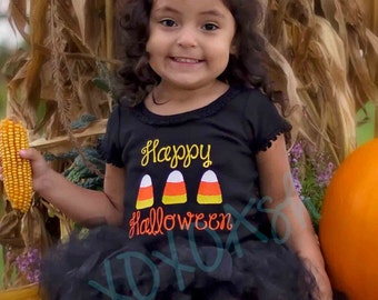 Girls Happy Halloween candy Corn Shirt-- Appliqued Embroidered Shirt or bodysuit