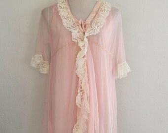 1960s Pastel Pink Nightie and Robe Set Short Sheer Ruffles Womens Vintage Medium
