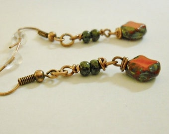 Earrings 9mm Table-Cut Oval Red Picasso Czech Glass Beads and Czech seed beads on Copper Wires