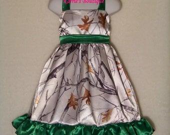 CAMO Flower Girl Dress / Snow Camo + Green / Halter / Satin / Halter / Wedding / Pageant / Infant / Baby / Girl / Toddler /Boutique Clothing